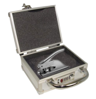 Your custom Alaska Notary Seal Embosser fortified inside a Locking Case for assured storage and transport of official notarial equipment.