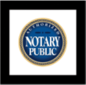 An elegant Authorized Notary Public Sign in a Black Wooden Frame manufactured with the professionals at Notarystamps.com.