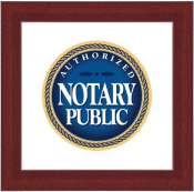 Brown Wooden Frame surrounds this Authorized Notary Public Sign. To be hung in home or office.