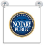 "9"" Authorized Notary Public Suction Cup Sign easily adheres to glassy, flat surfaces."
