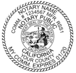 Generate an California Notary Seal online. Digital stamps comply with standards set forth in Adobe and DocuSign document management software. Create your custom image!