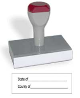 "CALIFORNIA  Notary Venue Rubber Hand Stamp creates a clean 7/8"" X 2 3/8"" rectangular impression of your official customized notarial information including space for state and county."