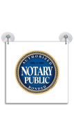 Bonded Notary Public Suction Cup Sign adheres to any flat, glassy surface.