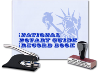 Combine a custom, Notarystamps.com manufactured pocket seal embosser and traditional rubber hand stamp with an official National Notary Guide Record Book in 1 convenient, economic package for California notaries.