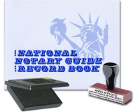 This value package combines a Notarystamps.com custom-manufactured traditional rubber hand rubber stamp and pad for inking with a robust National Notary Record Book. Satisfies all official Alabama notarial needs in one convenient and economic package.