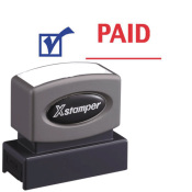 "0.5"" x 1.625"" ""Paid"" Two-Color Title Stamp produced by the trusted and venerable Xstamper brand."