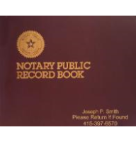 A classic Dome Publishing notary record book engraved with your name, number, and custom text. Unique, personalized journal for performing standard notarizations.