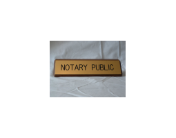 A Notary Public Desk Sign held with a Solid Walnut Base elegantly affirms your professional status.