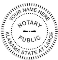 Alabama Notary Seal Embosser, Trodat Pink Body, Sample Impression Image, 1.6 Inch Diameter
