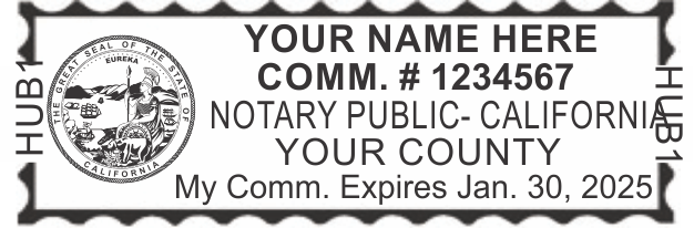 California Notary Stamp, Self Inking Trodat Printy 4913, Sample Impression Image, Rectangular, 2.3x0.81 Inches