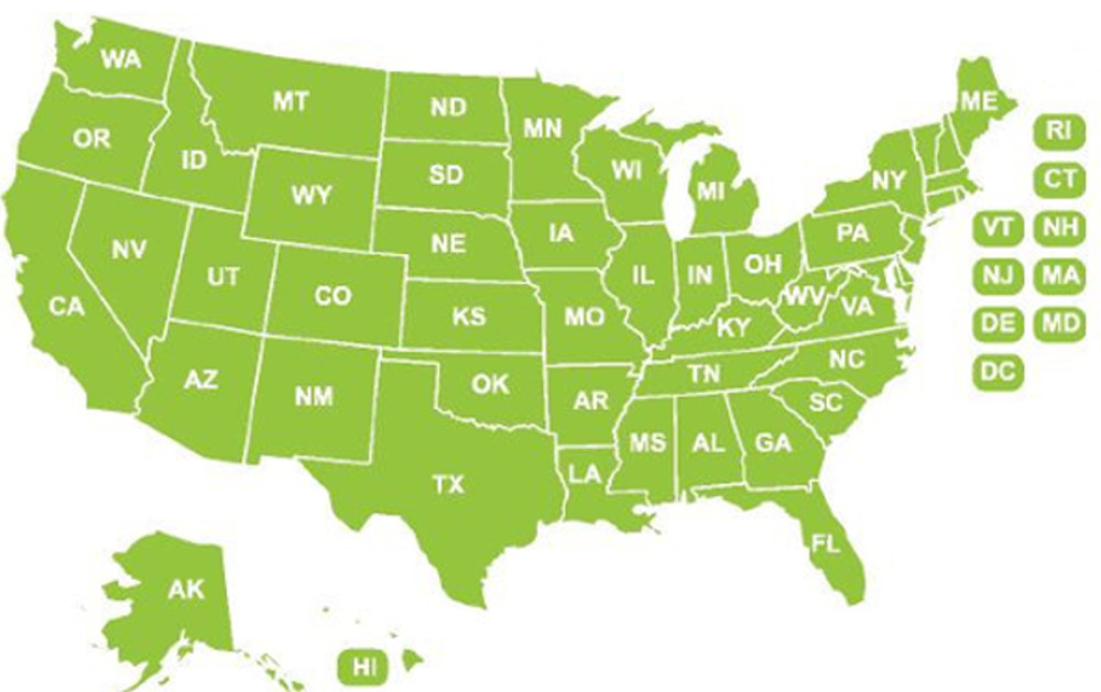 Notary Supplies, Stamps, Seals Custom State Selection Map