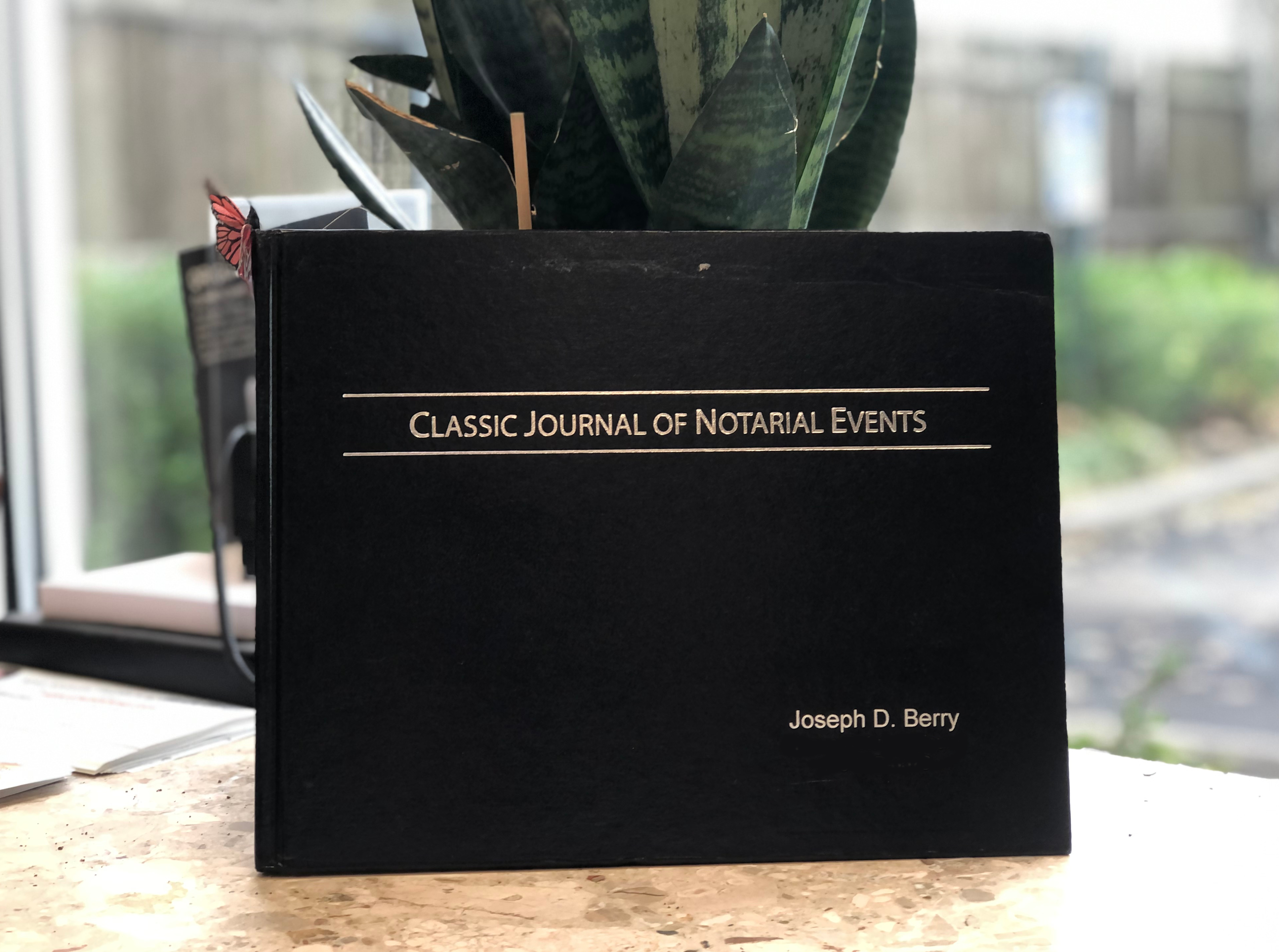 Personalized Classic Notary Journal (1-line), Close up custom name