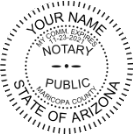 Arizona Notary Seal Embossed Sample Image 1.6 Inches Diameter