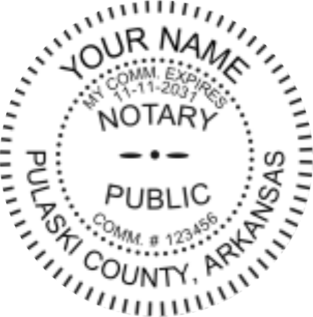 Arkansas Notary Shiny Seal Embosser, Sample Impression Image for