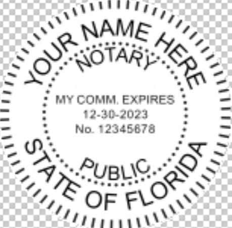 Florida Notary Pink Pocket Seal, Sample Impression Image, 1.625 Inch Diamter